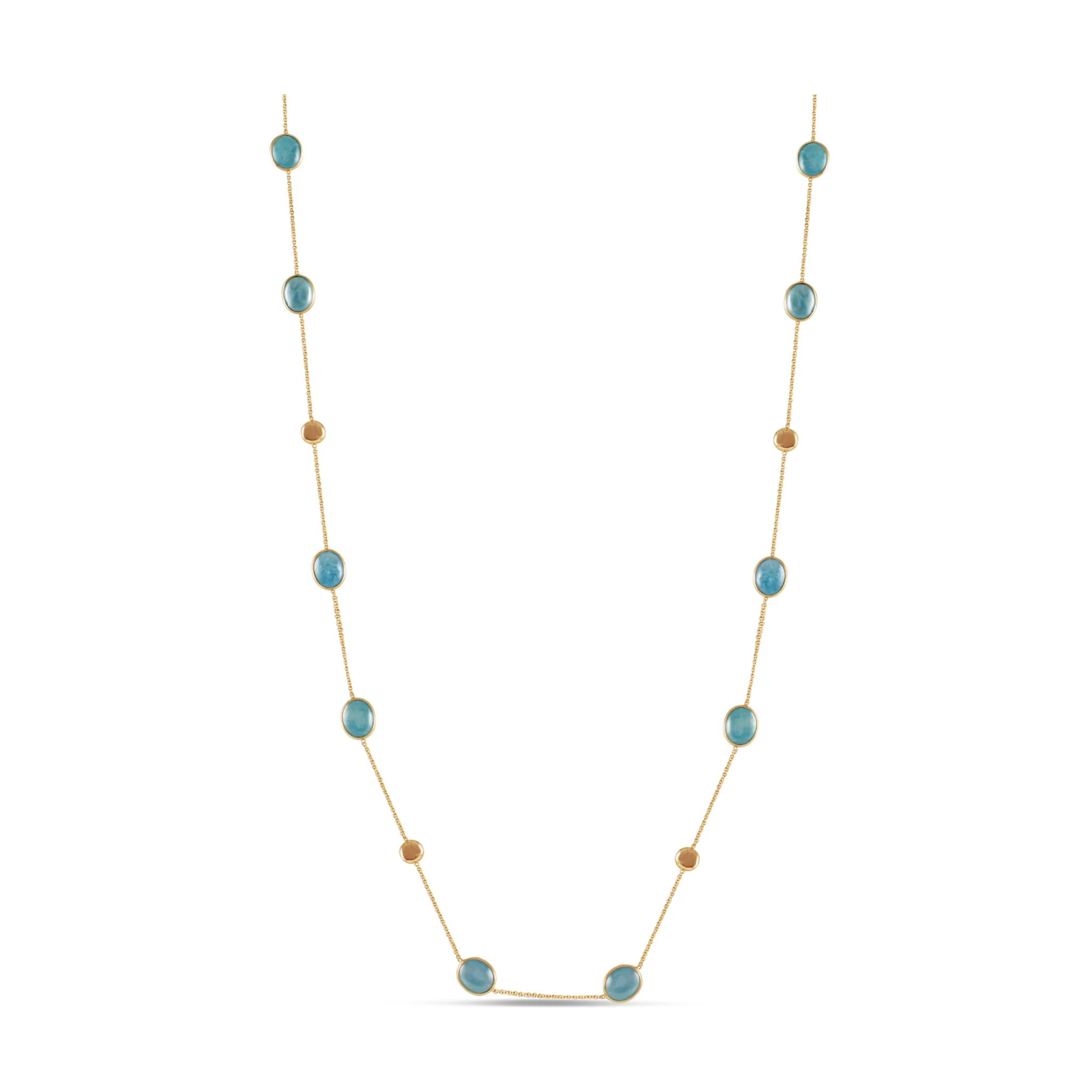 Aquamarine Long Necklace In 18K Yellow Gold