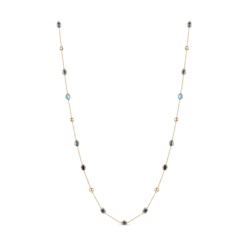 Gemstone Long Necklace In 18K Yellow Gold