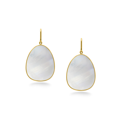Milky Moonstone Earring in 18K Yellow Gold