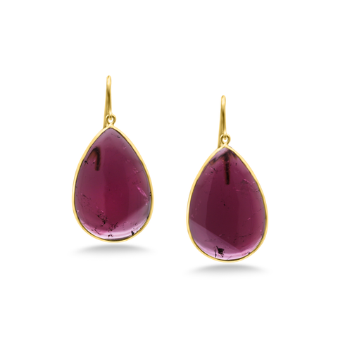 Pink Tourmaline Earring in 18K Yellow Gold