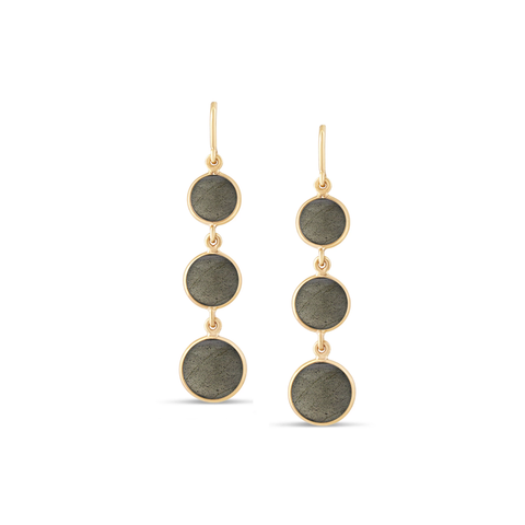 18K Yellow Gold Earring With Labradorite Smooth Round