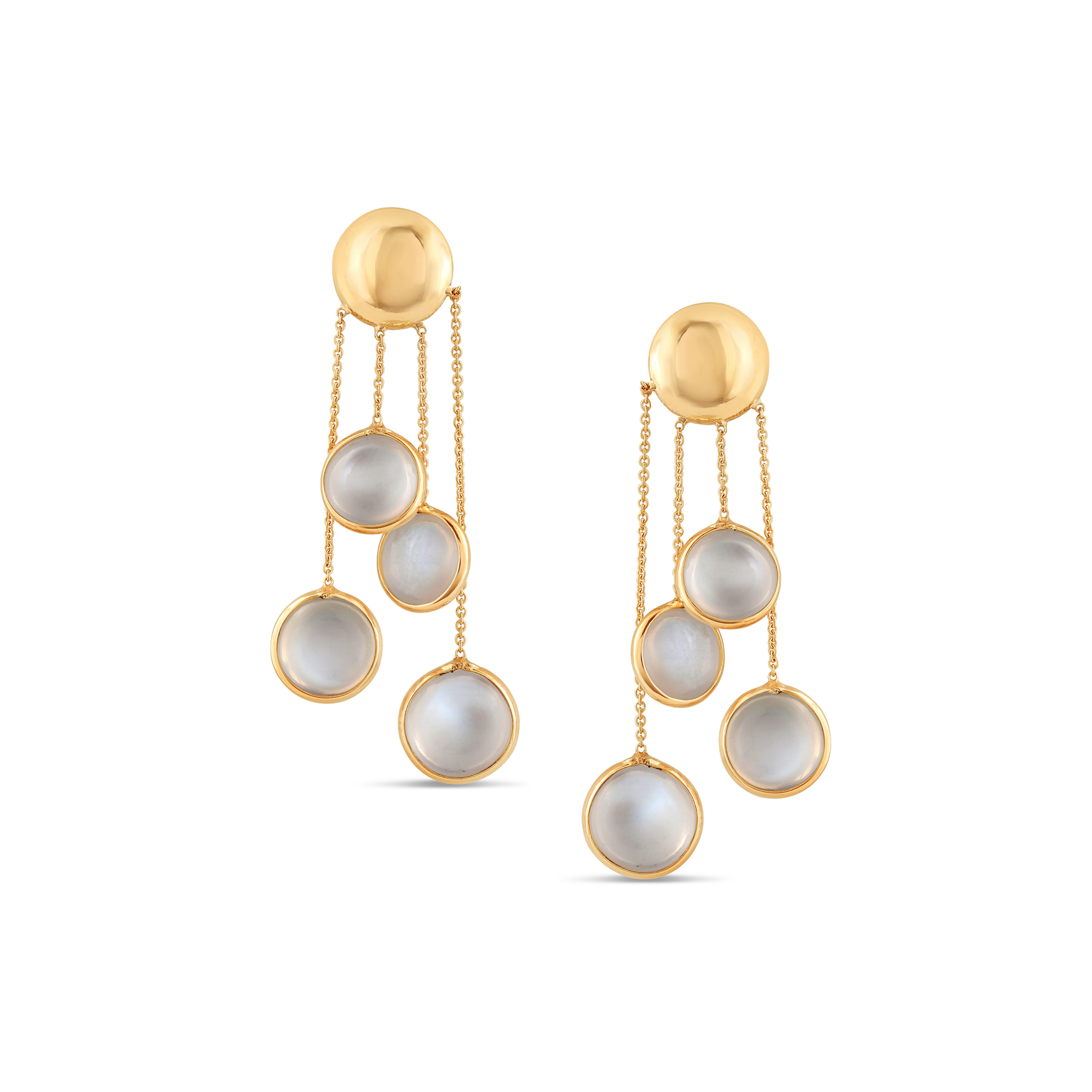 18K Yellow Gold Earring With Rainbow Moonstone Smooth Round
