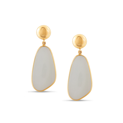 White Moonstone Earring in 18k Yellow Gold