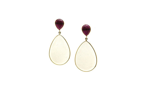Ruby & White Moonstone Earring in 18K Yellow Gold