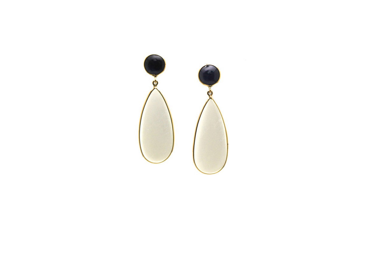 Blue Sapphire & White Moonstone Earring in 18K Yellow Gold