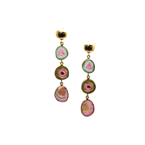 Bio Color Tourmaline Earring in 18K Yellow Gold