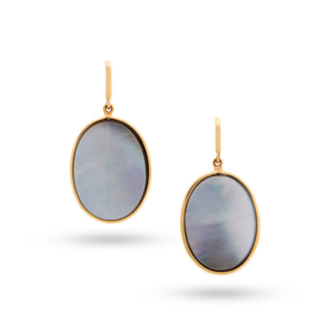 Grey Mother of Pearl Oval Earrings In 18k Yellow Gold