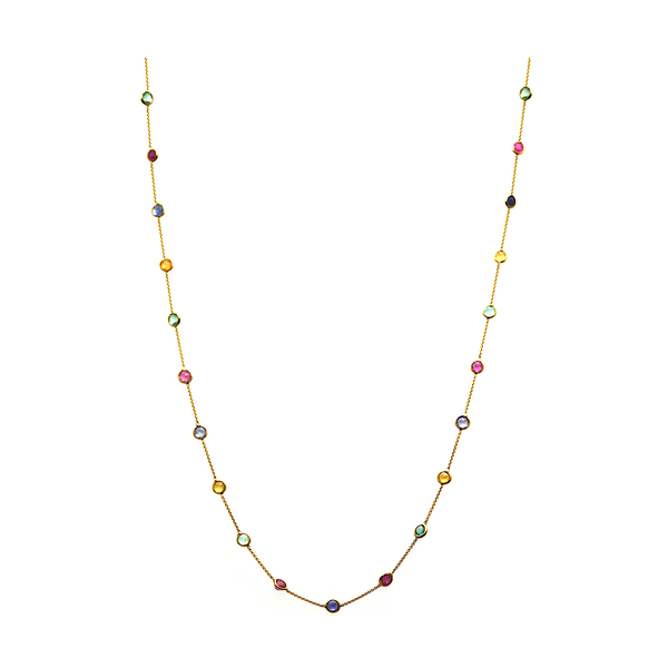 Multicolor Stones Long Necklace in 18k YG