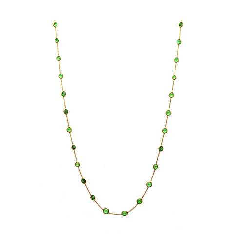 Tsavorite Round Necklace In 18K Yellow Gold