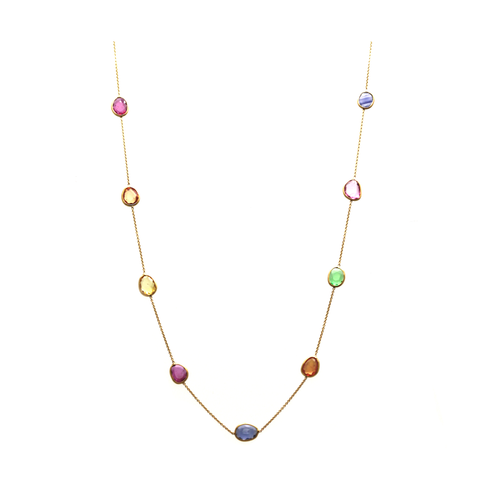 Multicolor Stone Necklace in 18k YG
