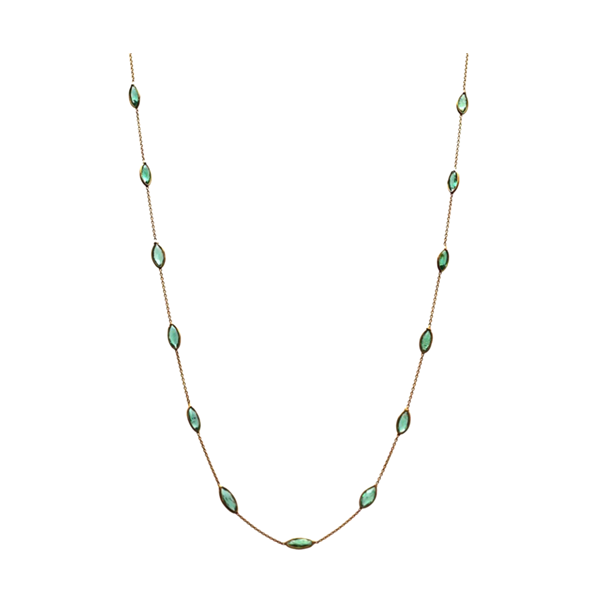 Emerald Marquise Necklace in 18k Yellow Gold