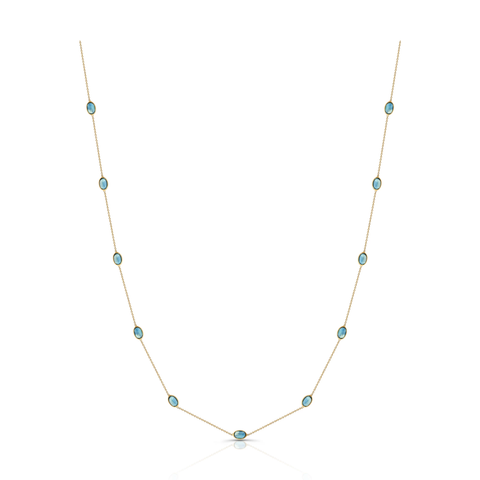 Gemstone Oval Necklace In 18k Yellow Gold