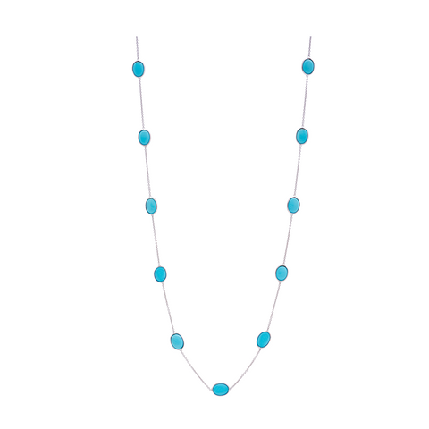 Turquoise Oval Necklace in 18k Yellow Gold