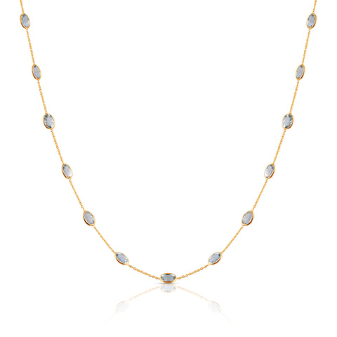 Aquamarine Oval Necklace In 18K Yellow Gold