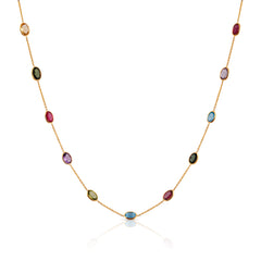 Multicolor Stones Oval Necklace in 18k Yellow Gold