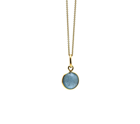 Aquamarine Simple Round Pendant In 18K Yellow Gold