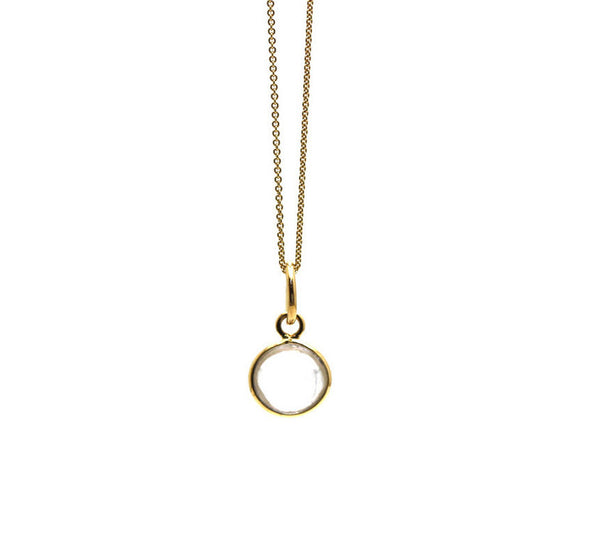 Crystal Quartz Simple Round Pendant In 18K Yellow Gold