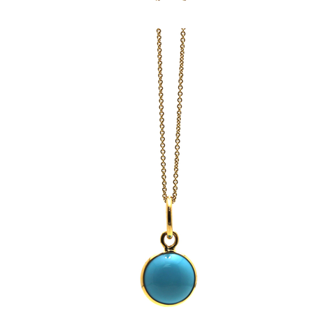 Turquoise Simple Round Pendant In 18K Yellow Gold