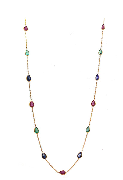 Emerald, Ruby and Sapphire Necklace in 18k YG