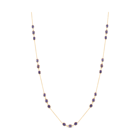 Iolite Oval Long Necklace In 18K Yellow Gold