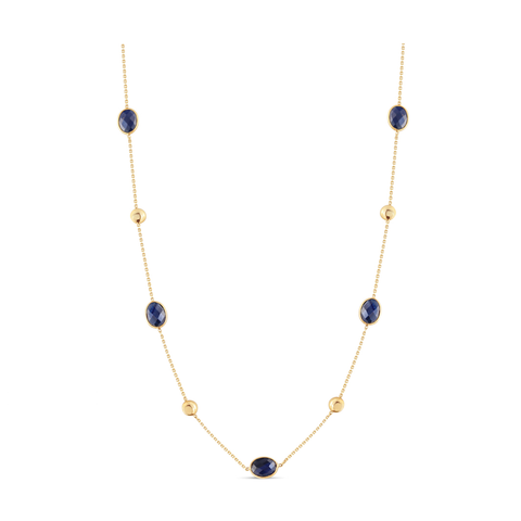 Blue Sapphire Oval Faceted with gold lente accent Necklace In 18K Yellow Gold