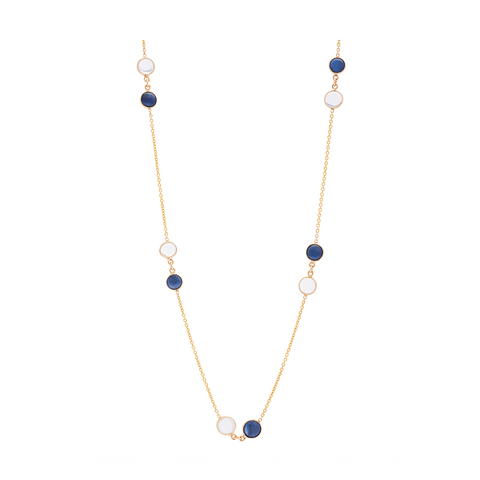 Rainbow Moonstone & Sapphire Necklace in 18k Yellow Gold