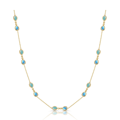 Rainbow Moonstone P/S Necklace in 18k Yellow Gold
