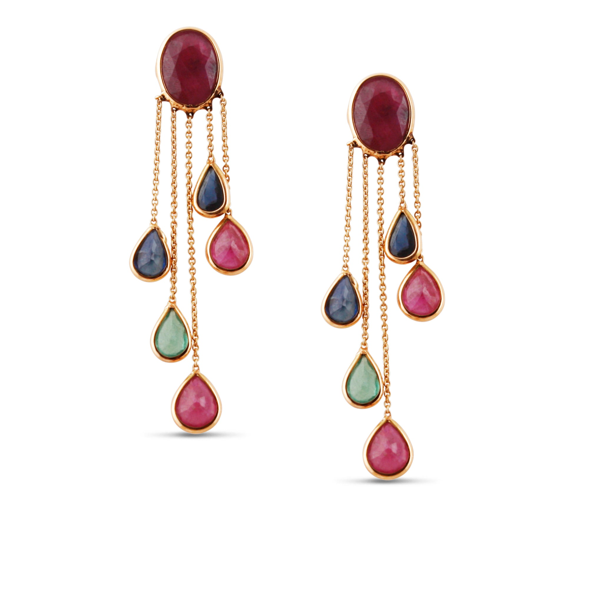 Emerald, Ruby and Sapphire Rainbow Earrings in 18k Yellow Gold