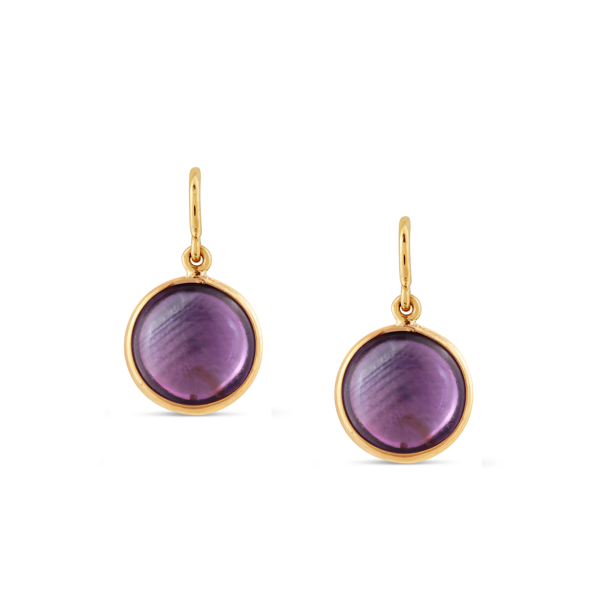 Amethyst Simple Round Dangle Earring In 18K Yellow Gold