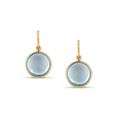 Blue Topaz Simple Round Dangle Earring In 18K Yellow Gold