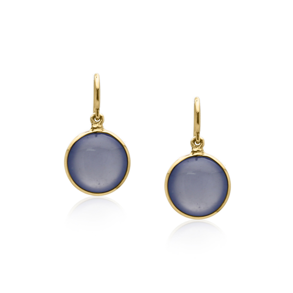 Calcidony Simple Round Dangle Earring In 18K Yellow Gold