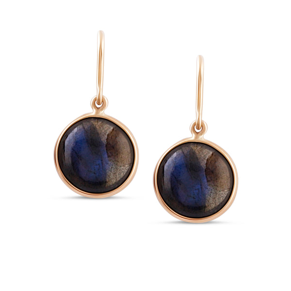 Labradorite Simple Round Dangle Earring In 18K Yellow Gold