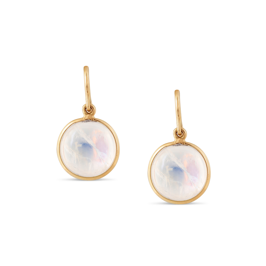 Rainbow Moonstone Simple Round Dangle Earring In 18K Yellow Gold