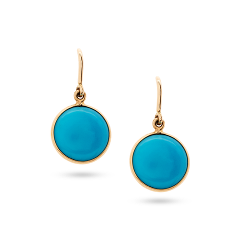Turquoise Simple Round Dangle Earring In 18K Yellow Gold