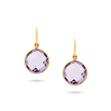 Amethyst Simple Round Dangle Earrings in 18k Yellow Gold