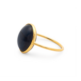 Blue Sapphire Oval Ring in 18K Yellow Gold