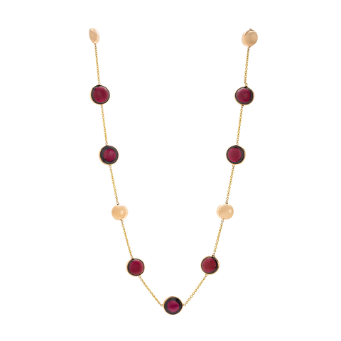 Garnet Round Necklace in 18k Yellow Gold