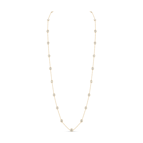 Rainbow Moonstone Round Long Necklace in 18k Yellow Gold