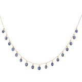Blue Sapphire Oval Necklace in 18k Yellow Gold
