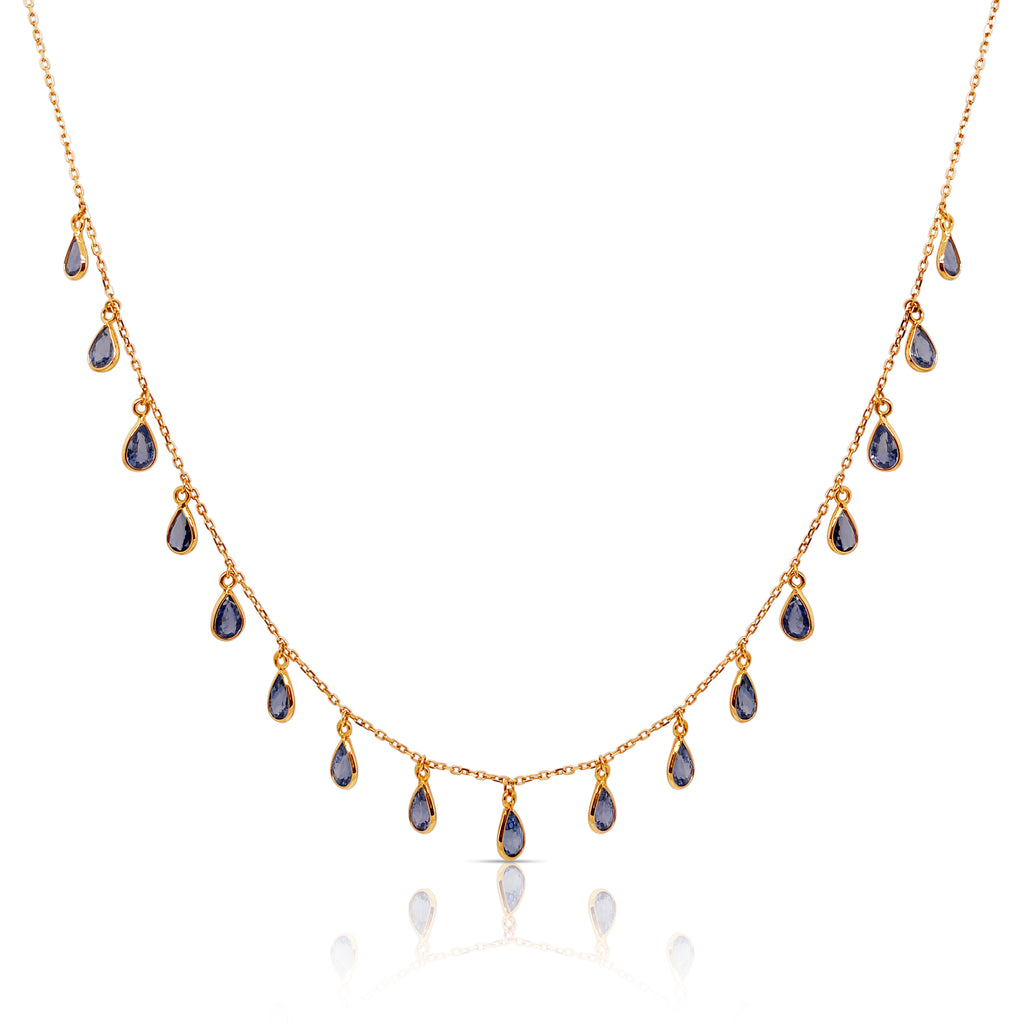 Blue Sapphire P/S Necklace in 18k YG