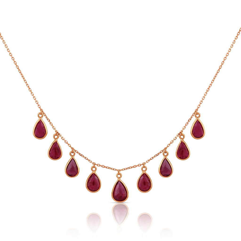 Gemstone Pear Shaped Dangle Necklace in 18k Yellow Gold
