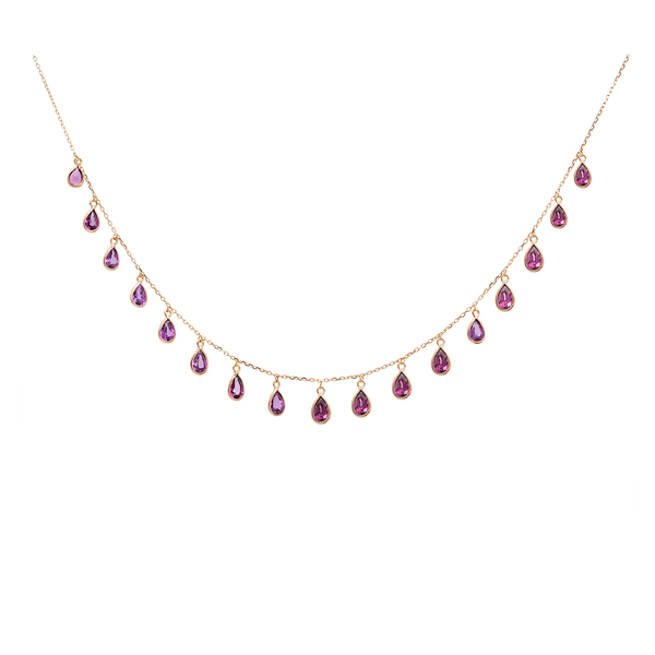 Rhodolite P/S Necklace in 18k Yellow Gold