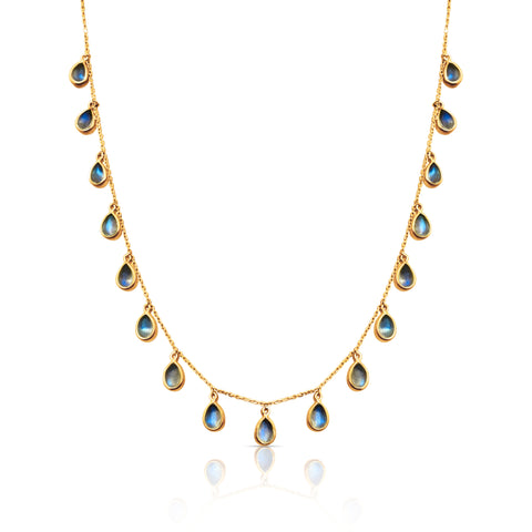 Rainbow Moonstone Pear Shaped Necklace in 18k Yellow Gold