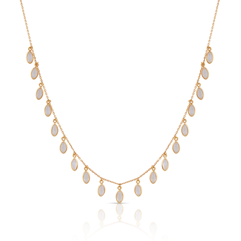 Rainbow Moonstone Marquise Necklace in 18k Yellow Gold