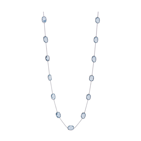 Blue Topaz Rect.  Necklace in 18k White Gold