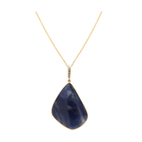 Blue Sapphire Pendant With Diamond Bail in 18K Rose Gold