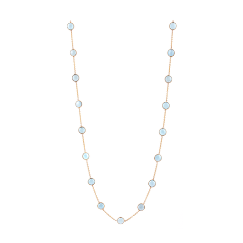 Aquamarine Round Necklace in 18k Yellow Gold