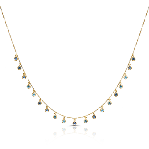 Rainbow Moonstone Dangle Necklace in 18k Yellow Gold