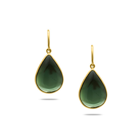 Green Tourmaline Earring In 18K Yellow Gold
