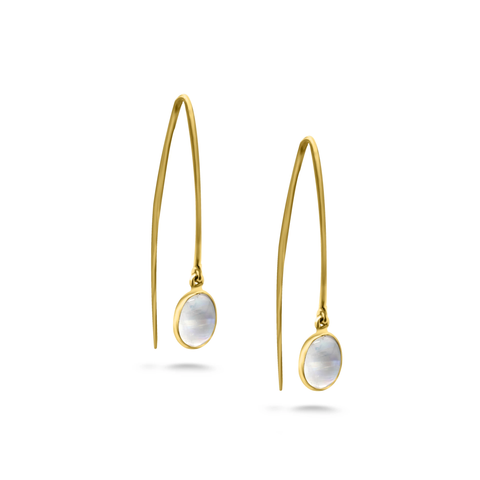 Rainbow Moonstone Earring In 18K Yellow Gold